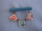 Stamp Collection - 1930's 1940s Early Plastic and Enamel Brooch  (SOLD)
